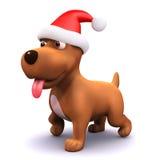 3d Festive puppy dog wears a Santa hat Royalty Free Stock Photography