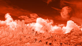 3D fictional space background. 3D landscape space background with fictional planet and ground texture Stock Images