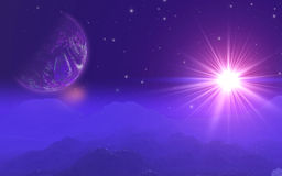 3D fictional space background. 3D space background with fictional planet Royalty Free Stock Image