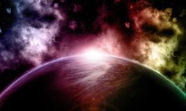 3D fictional space background. 3D space background with fictional planet Stock Image