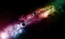 3D fictional space background. 3D space background with fictional planets Stock Photos