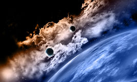 3D fictional space background. 3D space background with fictional planets Royalty Free Stock Photography