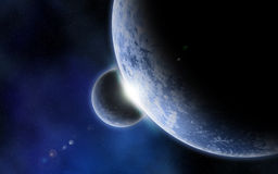 3D fictional space background. 3D space background with fictional planets and nebula Royalty Free Stock Image