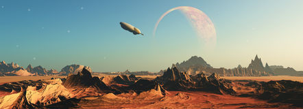 3D fictional space scene. 3D render of a fictional space scene with a space ship flying towards a planet Stock Image