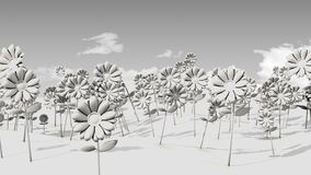 3D Field of flowers and sky. A 3D illustration of a filed of stylized flowers with a clouded sky in the background Stock Image