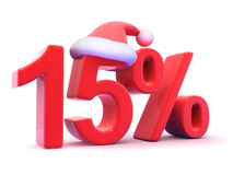 3d Fifteen percent symbol wearing a Santa Claus hat Royalty Free Stock Images