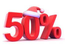3d Fifty percent Christmas Sale with Santa hat. 3d render of a 50 percent symbol with Santa Claus hat Royalty Free Stock Photo