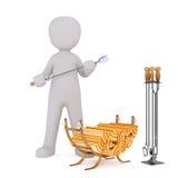3D figura póker de la chimenea del control con la manija de madera stock de ilustración