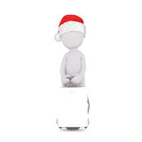 3D figure in Christmas hat holding suitcase Stock Images
