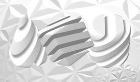 3D figure decorative di un cubo, triangolo e con una struttura di marmo Pietra di marmo illustrazione astratta di vettore Fotografia Stock Libera da Diritti