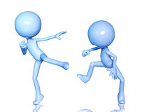 3d figure fighting. On white background Stock Photo