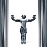 3D figure with hands up isolated on white Royalty Free Stock Photography