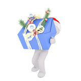 3D figure in hat running with bag in hand. Isolated 3D rendered figure in Christmas holiday hat running with shopping bag or purse in hand Stock Images