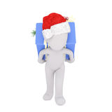 3D figure in hat running with bag in hand Royalty Free Stock Images