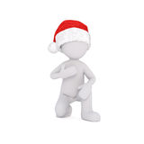 3D figure in hat running with bag in hand Stock Photo