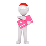 3d figure holding a first aid kit. 3d figure wearing a Christmas hat standing holding a first aid or medical kit in a colorful pink box in a healthcare concept Royalty Free Stock Photos