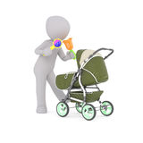 3D figure holds two colorful baby rattles. As he shakes them towards a green stroller Royalty Free Stock Photography