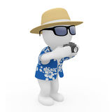 3D figure on holiday. 3D figure as a tourist with camera and hat Royalty Free Stock Photography