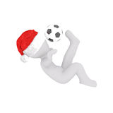 3D figure kicks soccer ball over his head Royalty Free Stock Photography