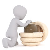 3D figure kneels beside beehive shaped box Royalty Free Stock Photo