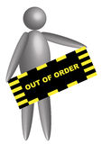 3d figure with out of order board Royalty Free Stock Photos