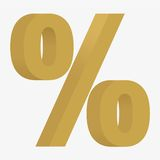 3D figure percent sign. Percent sign 3D figure of gold. Isolated on white background. Flat  stock illustration Royalty Free Stock Photos