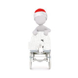 3D figure in red hat pushing wheeled object Stock Image
