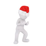 3D figure in red Santa hat with hands open. 3D figure in red Santa hat over white background with hands open as if to carry something Stock Image