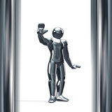 3D figure with it's hand up isolated on white. Stopping Royalty Free Stock Photos
