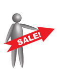 3d figure with sale label Royalty Free Stock Photos