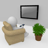 3D figure watching tv Stock Image