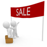 3D figures on special sale shopping tour Royalty Free Stock Photography
