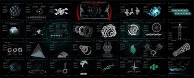 3D fijó los elementos abstractos de HUD para el diseño de UI UX Estadística y datos, información infographic stock de ilustración
