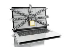 3d File cabinets in laptop with open padlock. Royalty Free Stock Photos