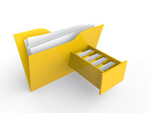 3d file folder with file drawer Stock Photo