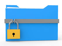3d file folder with lock. 3d render of blue file folder with padlock Stock Photography