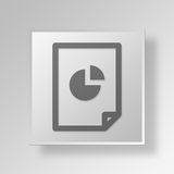 3D File Pie Chart icon Business Concept. 3D Symbol Gray Square File Pie Chart icon Business Concept Royalty Free Stock Image