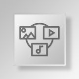 3D file sharing Button Icon Concept. 3D Symbol Gray Square file sharing Button Icon Concept Royalty Free Stock Photos