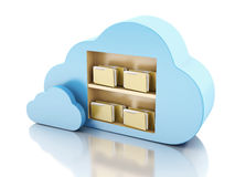 3d File storage in cloud. Cloud computing concept. Royalty Free Stock Photos