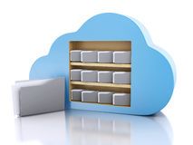 3d File storage in cloud. Cloud computing concept. 3d renderer illustration. 3d File storage in cloud. Cloud computing concept on white bakcground Stock Photos