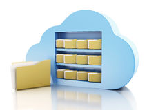 3d File storage in cloud. Cloud computing concept. Stock Photos