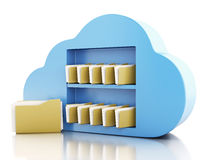 3d File storage in cloud. Cloud computing concept. Stock Photography