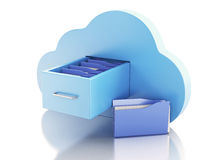 3d File storage in cloud. Cloud computing concept. Stock Images
