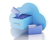 3d File storage in cloud. Cloud computing concept. 3d renderer illustration. 3d File storage in cloud. Cloud computing concept on white bakcground Royalty Free Stock Images