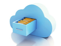 3d File storage in cloud. Cloud computing concept. 3d renderer illustration. 3d File storage in cloud. Cloud computing concept on white bakcground Royalty Free Stock Photo