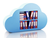 3d File storage in cloud. Cloud computing concept. 3d renderer illustration. 3d  File storage in cloud. Cloud computing concept on white bakcground Stock Photography