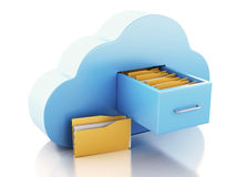 3d File storage in cloud. Cloud computing concept. Royalty Free Stock Photography