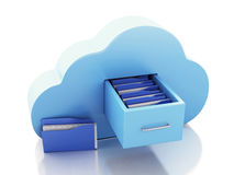 3d File storage in cloud. Cloud computing concept. 3d renderer illustration. 3d File storage in cloud. Cloud computing concept on white bakcground Royalty Free Stock Photos