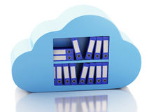 3d File storage in cloud. Cloud computing concept. 3d renderer illustration. 3d  File storage in cloud. Cloud computing concept on white bakcground Stock Images