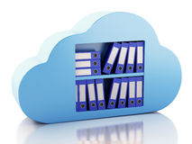 3d File storage in cloud. Cloud computing concept. Royalty Free Stock Image